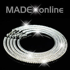 Extra Large Big Diamante Diamonte Round Hoop Earrings sparkly bling