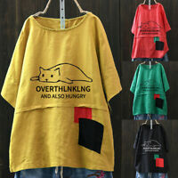 Women's Cartoon Cat Print Patchwork Short Sleeve Casual Cute T-Shirt Top Blouse