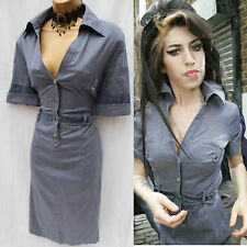 KAREN MILLEN BLUE SILVER DOT SHIRT STYLE DRESS as seen on  AMY WINEHOUSE 10 UK