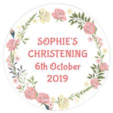 48 Personalised Christening Baptism Stickers FLOWER BORDER  40mm Labels