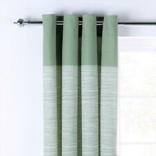 "100% Cotton GREEN Stripes Unlined Eyelet Curtains 46x54"" 117x137cm"
