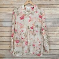 J Jill Womens Top Button Front Long Sleeve Floral Print Silk Blend Size Large