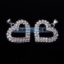 5pcs 27x23mm Silver Plated Crystal Rhinestones Heart Shape Charms Pendants