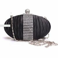 Stylish Black Diamante Wedding Ladies Party Prom Evening Clutch Hand Bag Purse
