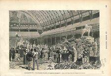 SALON DE PARIS JARDIN EXPOSITION SCULPTURE FRANCE GRAVURE ANTIQUE PRINT 1874