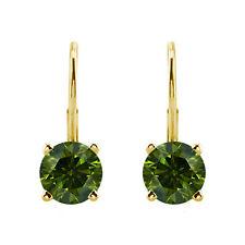 1.00 Carat Green Round Color Enhanced Diamonds 14k YG Leverback Earrings
