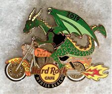HARD ROCK CAFE MYRTLE BEACH GREEN DRAGON RIDING FLAMING MOTORCYCLE PIN # 500359