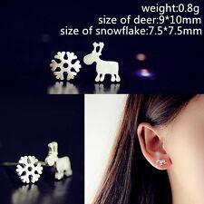 1 Pair New Fashion Women Elegant Silver Crystal Ear Stud Lady Earrings Jewelry