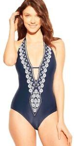 Womens XL Kona Sol Medium Coverage One Piece Swimsuit Navy Blue w/ Crochet Trim
