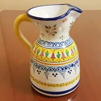 """Hand Painted Spanish Art Pottery Jug Pitcher Water Sangria Faience Majolica 8"""""""