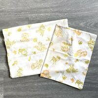 Vintage 50s Cot Sheet Set Flat Sheet and Pillowcase Baby Animal Print