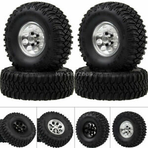 "4pcs 1.55"" Alloy Beadlock Wheel Hub Rims 96mm Tires Tyre For RC 1/10 JIMNY Axial"