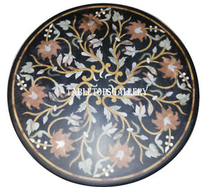 """36"""" Black Marble Dining Table Top Inlay Pietra Dura Home Furniture Decor H912A"""