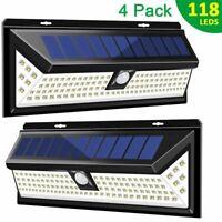 Outdoor 118 LED Solar Power Lights PIR Motion Sensor Wall Lamp Garden Waterproof