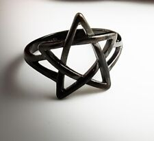 Pagan Wiccan Pentagram Ring Satanic Occult Stainless Steel Black Size 11