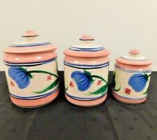 Gail Pittman Vintage Canister Jar Container Pottery Set of 3  with Lids Novak