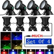 Set of 4 Submersible 36 LED RGB Pond Spot Lights for Underwater Pool Fountain US