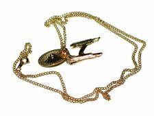 Star Trek Original Series Enterprise Ship Pendant Necklace Goldtone Metal