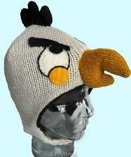 Beanie Fly Hat White Bird Winter Hand Knit 100% Wool Polyfleece Lined Nepal