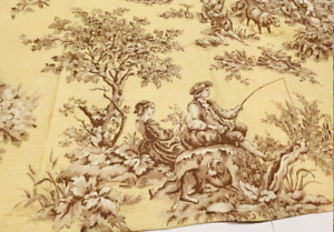 """WAVERLY Beige Brown Toile Window Valances 106 x 17.5"""" Set of Two"""