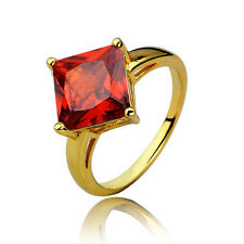 Elegant Gold & Ruby Red Rhombus Crystal Stones Ring size small M 16.5 mm FR108