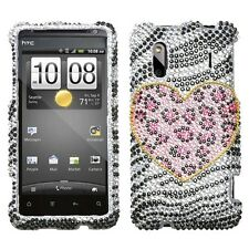 For HTC Evo Design Hero S Crystal Diamond BLING Hard Case Cover Playful Leopard