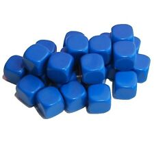 24 Blank Blue Dice, (plastic cubes), 16mm , D6