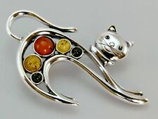 """Multicolor Amber & Silver Stretching Cat Pendant/Brooch 2"""" Long x 1.5"""" Wide"""