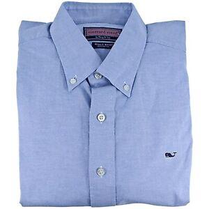 Vineyard Vines Men's Solid Oxford Classic Fit Whale Button Down Shirt 2XL Blue