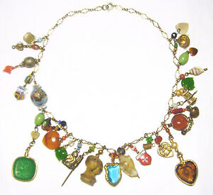OOAK Sterling/Enamel/Gemstone MIXED MEDIA MULTI CHARM NECKLACE Gold Filled Chain