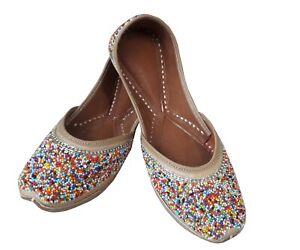 multi Punjabi jutti leather shoes Flip Flops indian Beaded shoes mojari jooti