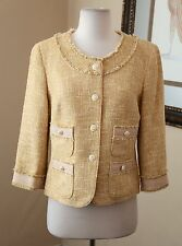 Talbots Yellow Gold Fringe Blazer Jacket Crested Buttons Sz 10P Prep Office