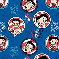 BETTY BOOP PATRIOTIC ROYAL BLUE COTTON FABRIC MATERIAL, From Camelot Fabrics NEW