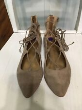 NWOB BCBGeneration Women's Beige Pointed Ballet Flats Lace-up Size 8.5