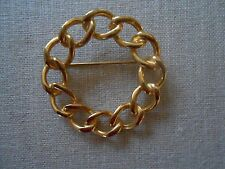 Vintage Gold-tone Chain Design Circle Pin/Brooch