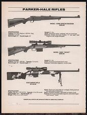 1995 PARKER-HALE 1100M African, 1300C Scout, M-85 Sniper Rifle AD w/orig prices