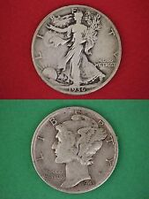 MAKE OFFER $5.00 Face 90% Silver Mercury Dimes Walking Liberty Half Dollars