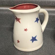 "Terramoto Ceramic Red Blue Stars Pitcher 7"" Fourth Of July Patriotic"