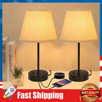 Dual USB Table Lamp,Bedside Lamps Set of 2 Nightstand Lamps for  Home, Office
