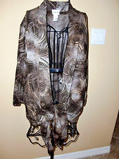 """Made in USA""""CHICO'S""""3/4 Sleeve Brown/Gold Colors Sweater Wrap size 1 Super CUTE!"""