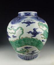 China Antique B&W Porcelain Flat Moon Vase w Green Dragon Deco