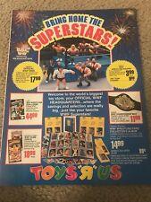 1991 WWF HASBRO FIGURES TOYS R US Print Ad CHAMPIONSHIP BELT RING DEMOLITION AX
