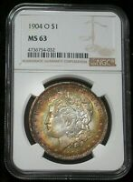 1904-O USA MORGAN SILVER DOLLAR NGC MS63 CHOICE TONED COLOR BU GEM UNC (DR)