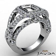 Diamond Engagement Ring 18k White Gold Halo Bezel Set 1.38Ct Emerald Semi Mount