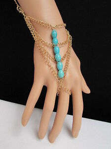 WOMEN GOLD FASHION JEWELRY HAND CHAINS TURQUOISE BLUE BEADS BRACELET SLAVE RING