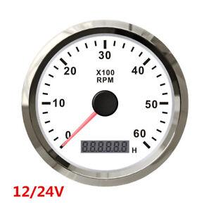 1X White 12V 24V Car Truck Boat Tacho Gauge Tachometer with Hour Meter 0-6000RPM