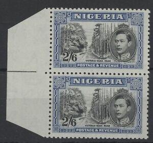 NIG Nigeria George VI 2s 6d marginal stamps (SG58c) dated 1938 UMM