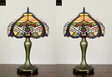 PAIR OF 2 Tiffany Baroque Stained Glass Bedside Side Table Lamp Light