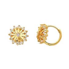14K Solid Yellow Italian Gold Round CZ Flower Huggies Starburst Hoop Earrings