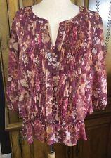 a.n.a. Women's Size XL Plum Multi Floral Peplum Sheer Top 3/4 Sleeves